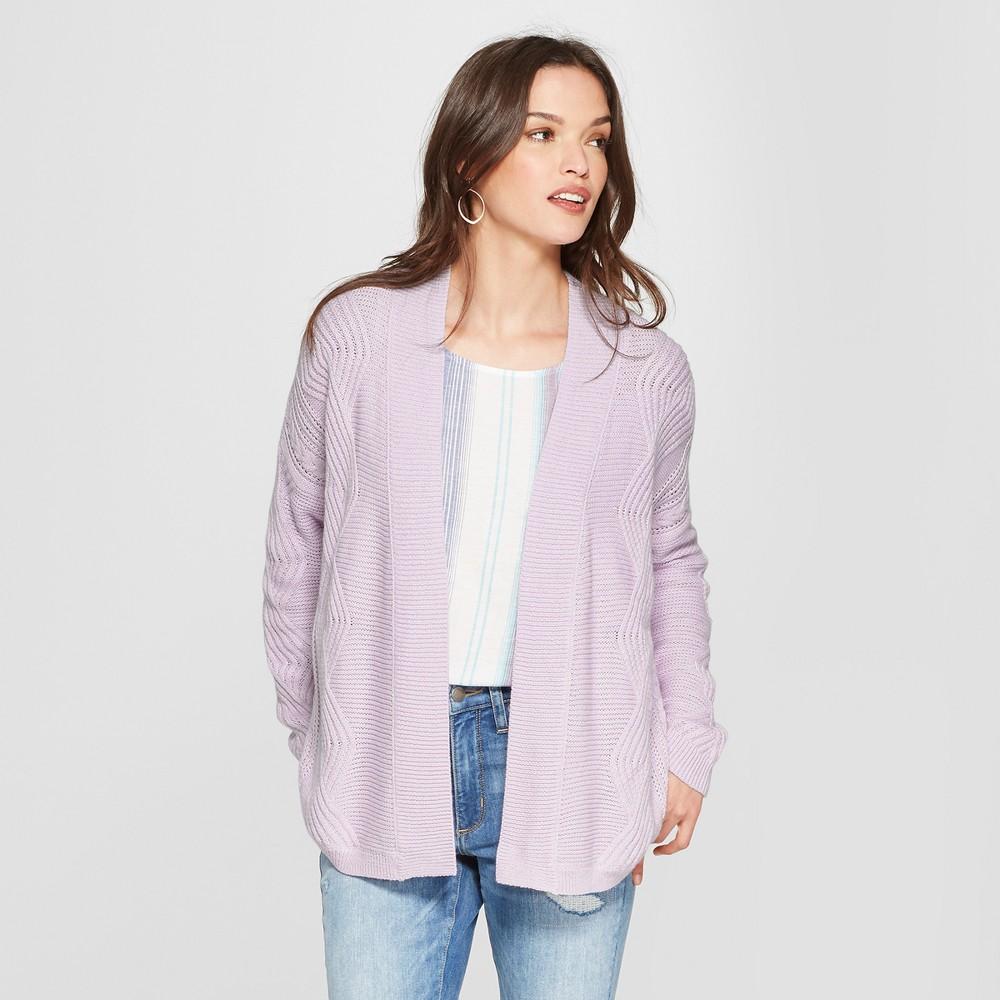 Women's Cable Open Cardigan - Universal Thread Purple XL