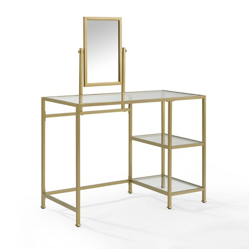 2 Piece Aimee Vanity and Mirror Set Gold - Crosley - image 1 of 4