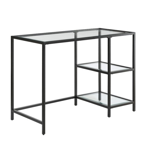 Langley Glass Top Desk with Shelves Black - Carolina Chair & Table - image 1 of 2