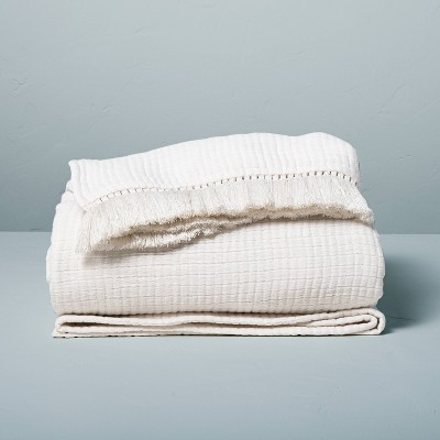 King Textured Fringe Coverlet Sour Cream - Hearth & Hand™ with Magnolia