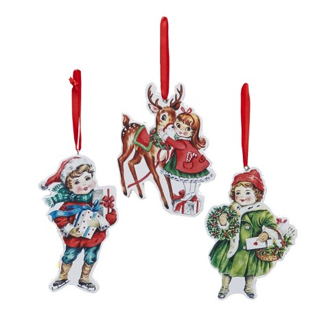 Lakeside Retro Christmas Ornaments With Children Reindeer Set Of 3 Target Polish your personal project or design with these cartoon christmas tree transparent png images, make it even more personalized and more attractive. lakeside retro christmas ornaments with children reindeer set of 3