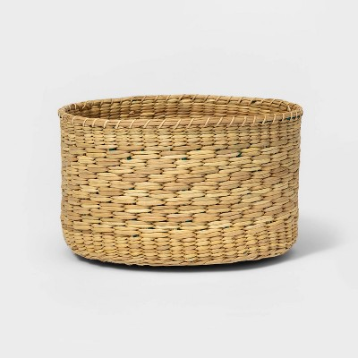Round Basket with Color Bands and Diagonal Pattern Natural - Threshold™