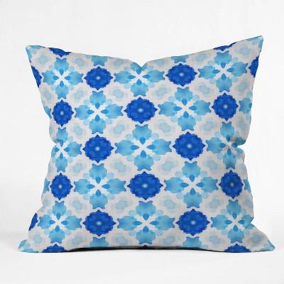 16 X16 Jacqueline Maldonado Watercolor Geometric Tile Throw Pillow Blue Deny Designs Target