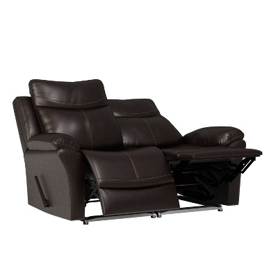 Aaron 2 Seat Wall Hugger Recliner Loveseat Renu Leather Coffee Brown - ProLounger