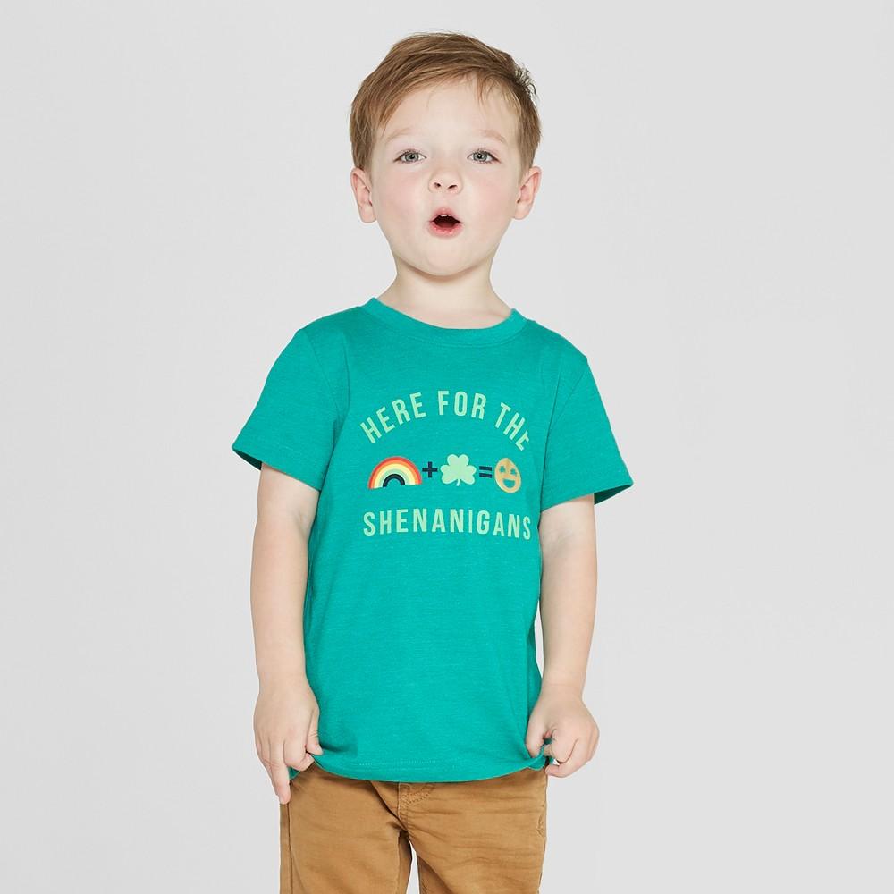 Toddler Boys' Short Sleeve St. Patrick's Day Shenanigans T-Shirt - Cat & Jack Green 12M