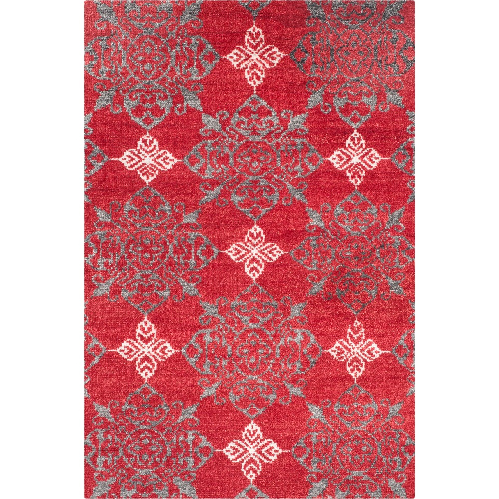 4'X6' Medallion Knotted Area Rug Red/Ivory - Safavieh