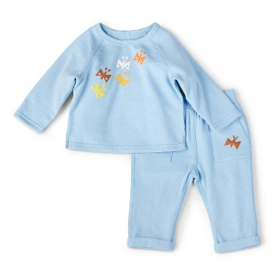 Baby Adaptive Butterfly Print Top & Bottom Set - Christian Robinson x Target Blue