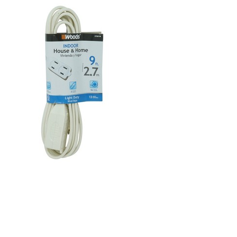 White Indoor Extension Cord 9' - image 1 of 3