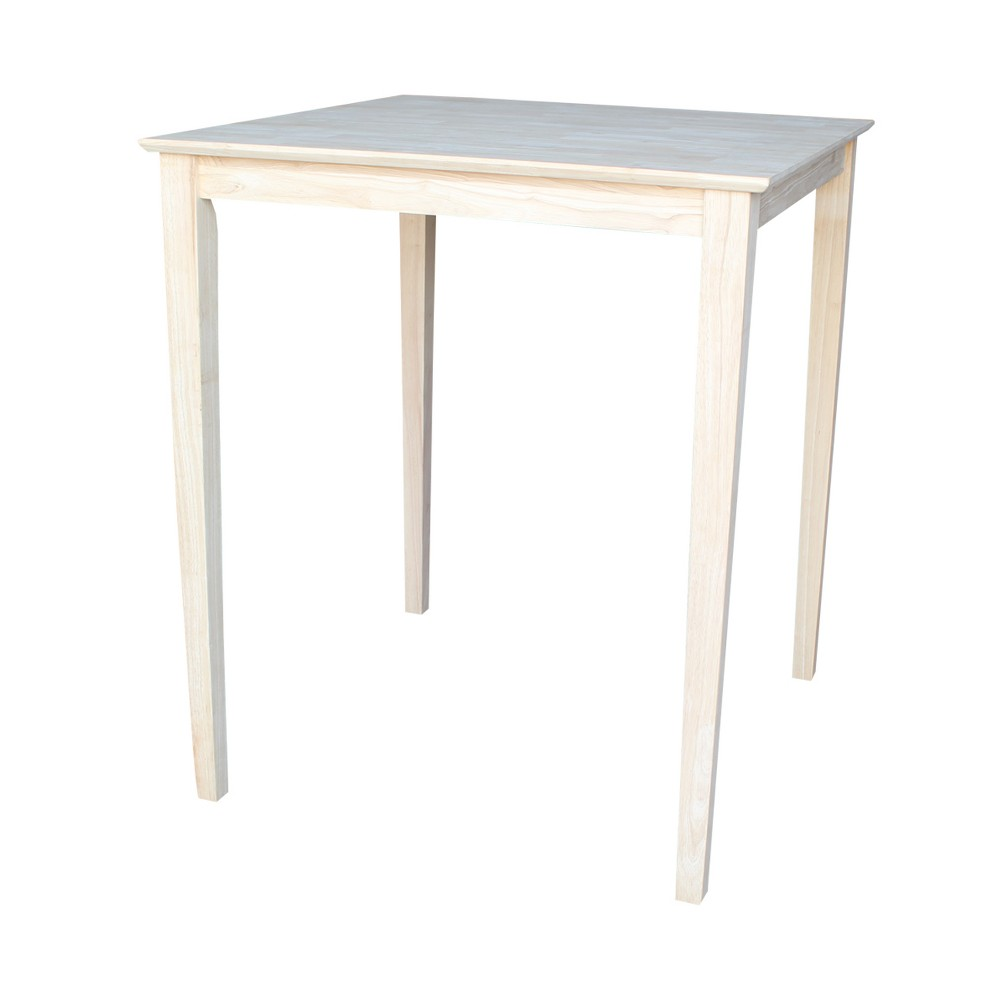 36 Square Solid Wood Bar Height Table with Shaker Legs Unfinished - International Concepts, Brown