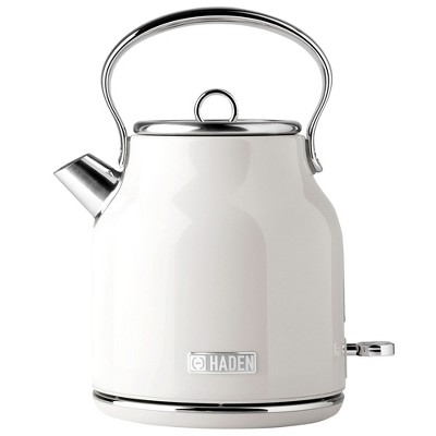 Haden 75012 Heritage 1.7 Liter Stainless Steel Body Countertop Retro Electric Kettle with Auto Shutoff & Dry Boil Protection, Ivory White