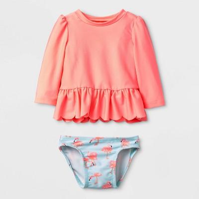 Baby Girls' Long Sleeve Flamingo Rash Guard Set - Cat & Jack™ Turquoise 3-6M