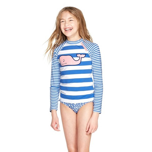 8db33bde2f424 Girls' Pink Whale Striped Graphic Rashguard - Blue/White - Vineyard Vines®  For Target : Target