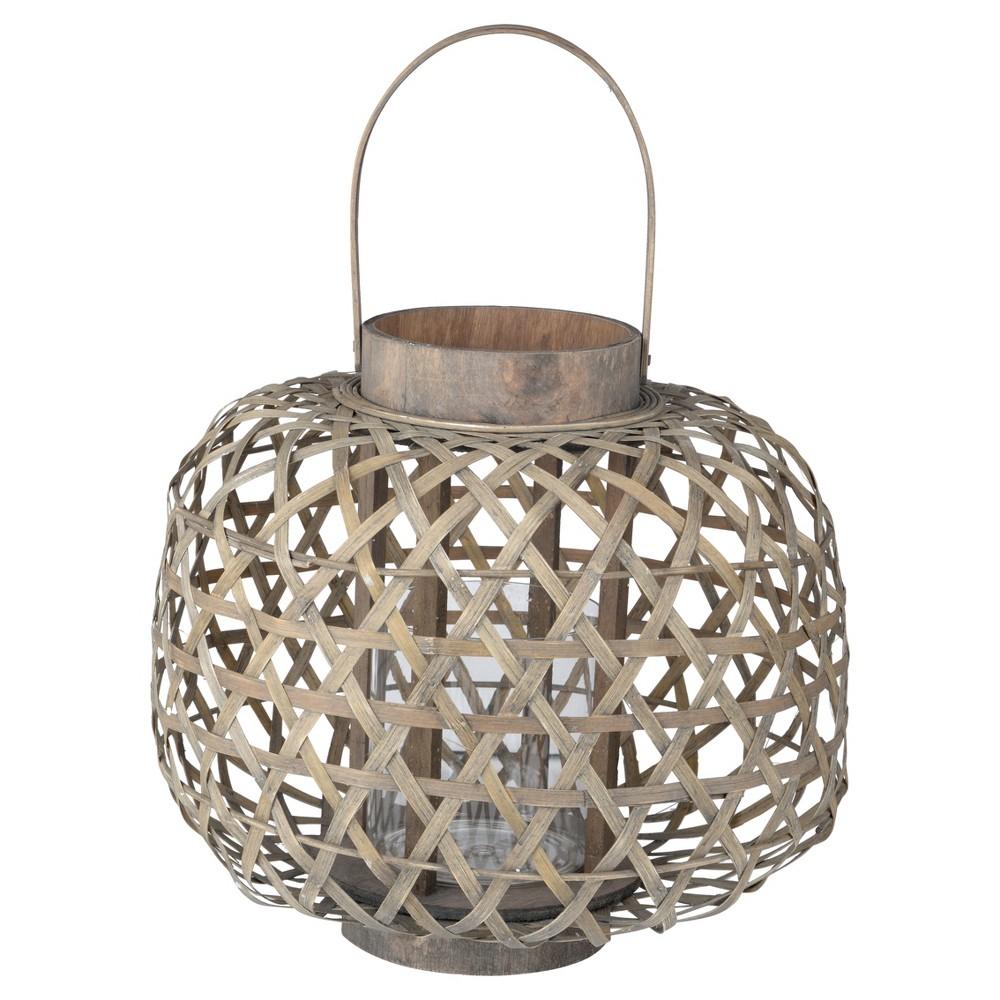 Coconio Wood Lattice Lantern Round - A&b Home, Dark Off-White