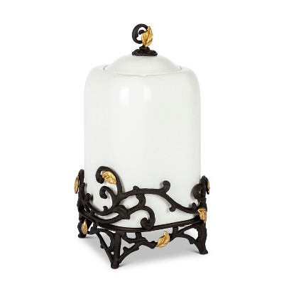 GG Collection 14-Inch Tall Gold Leaf Ceramic Canister with White Stoneware and Espresso Brown Vines and Gold Leaf Accented Base.