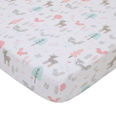 NoJo Sweet Forest Friends 100% Cotton Fitted Crib Sheet -Pink/Aqua/Gray
