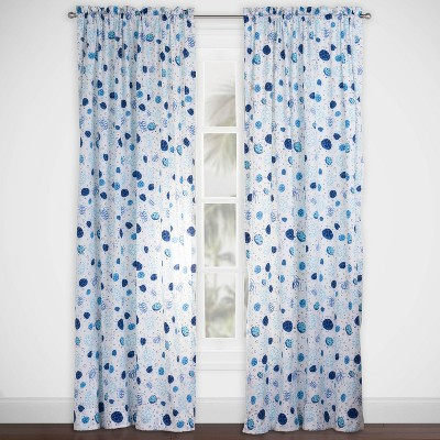 Turtle Time Rod Pocket Curtain Panel Blue - Highlights