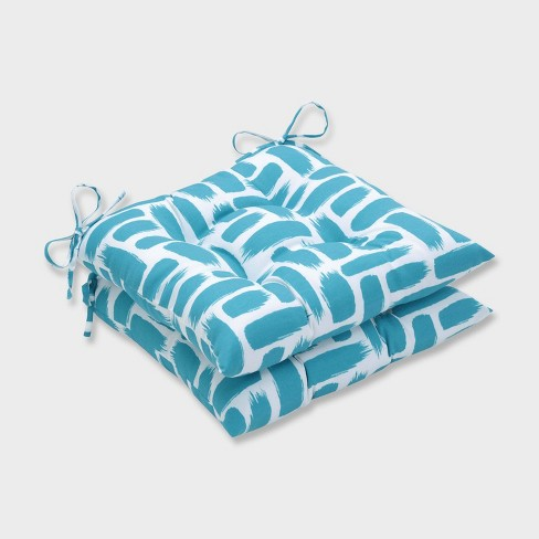 2pk Baja Turquoise Wrought Iron Outdoor Seat Cushions Blue - Pillow Perfect - image 1 of 1