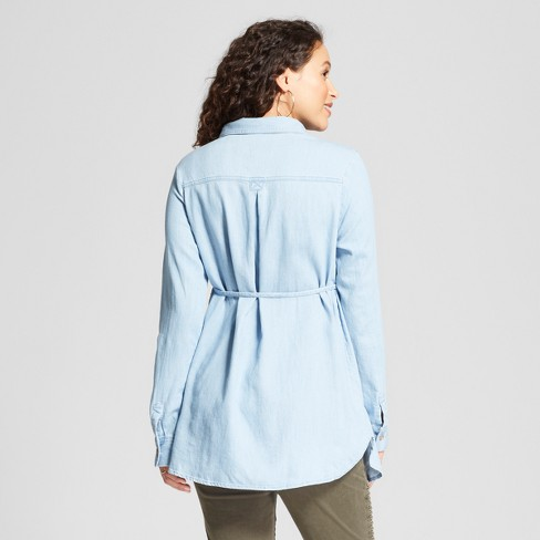 2152c888ebcef Maternity Long Sleeve Woven Popover Tunic - Isabel Maternity By Ingrid &  Isabel™ Light Wash S : Target