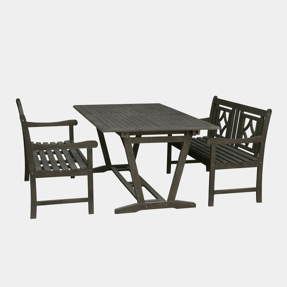 Fabulous Renaissance 3Pc Wood Extendable Outdoor Patio Dining Set Gmtry Best Dining Table And Chair Ideas Images Gmtryco