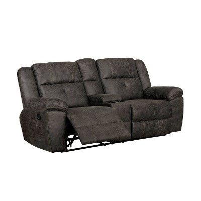 Herrick Tufted Recliner Sofa Dark Brown - miBasics