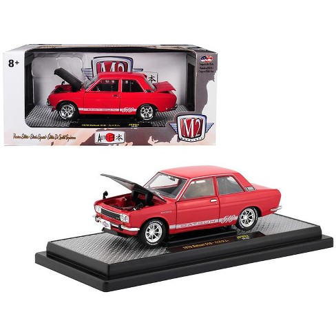 """1970 Datsun 510 Red w/ White Stripes and Black Hood """"Auto Japan"""" Ltd Ed to 5,800 pcs 1/24 Diecast Car by M2 Machines - image 1 of 1"""