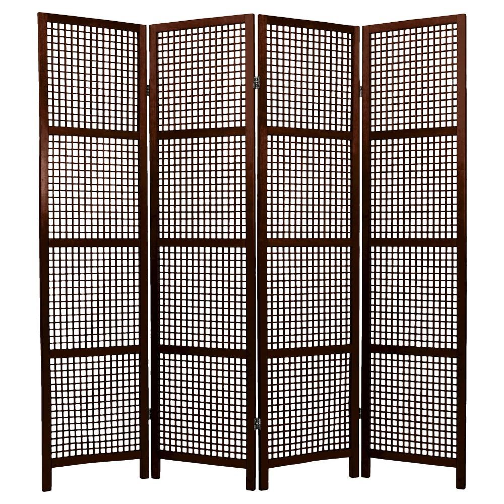 6 ft. Tall Miyagi Shoji Screen - Walnut (4 Panels), Brown