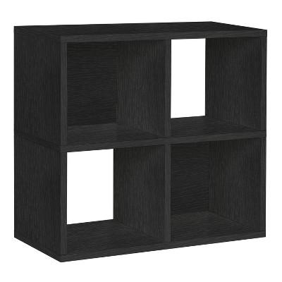 Under Desk Storage, 4 Cubby Bookshelf, Eco Friendly and Formaldehyde Free, Black - Lifetime Guarantee