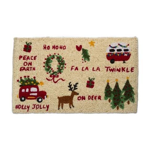 "TAG 1'6"" x 2'6"" Whimsy Christmas Doormat Xmas Holiday Camper Wreath Deer Tree Christmas Coir Doormat Indoor Outdoor Welcome Mat - image 1 of 3"