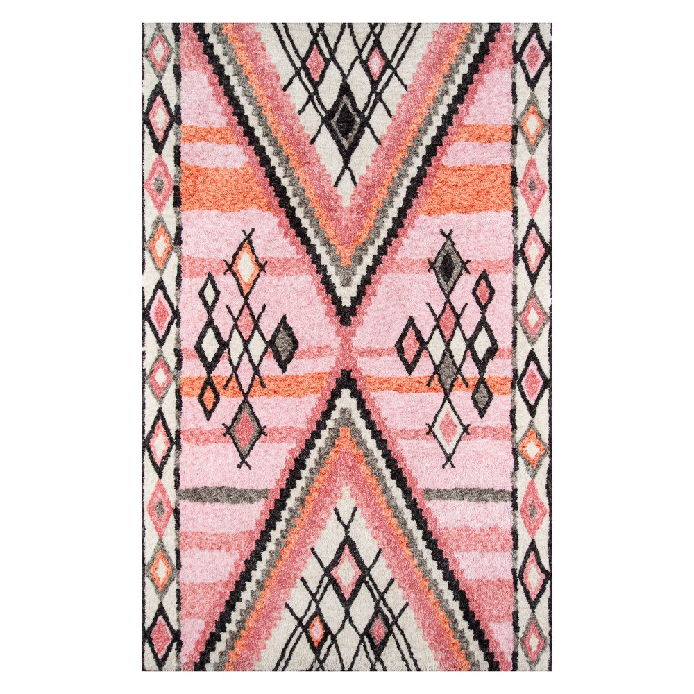 2'X3' Shapes Tufted Accent Rug Pink - Momeni, Black Pink White