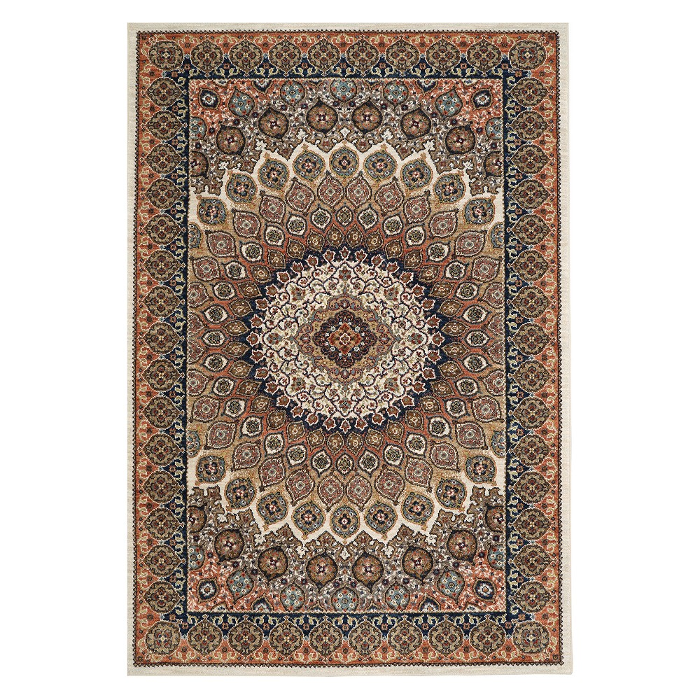 "Image of ""9'6""""x12'11"""" Floral Woven Area Rug New Oat - Karastan"""