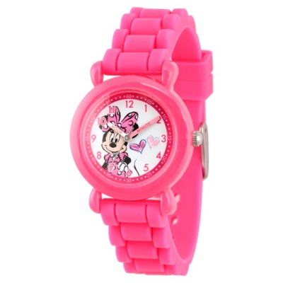 Girls' Disney Minnie Mouse Pink Plastic Time Teacher Watch - Pink