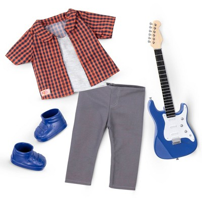 """Our Generation 18"""" Boy Doll Outfit with Electric Guitar - Plaid to Rock"""