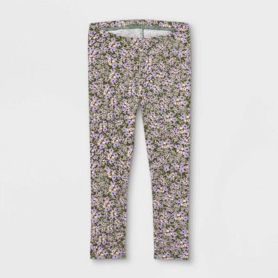 Toddler Girls' Floral Leggings - Cat & Jack™ Olive Green
