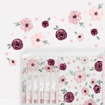 Watercolor Floral Wall Decal Stickers Burgundy Wine/Pink - Sweet Jojo Designs
