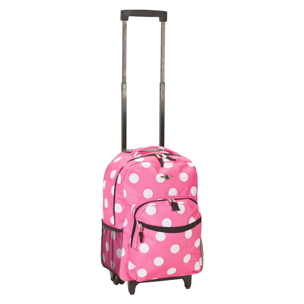 Rockland 17 Roadster Rolling Backpack Pink White