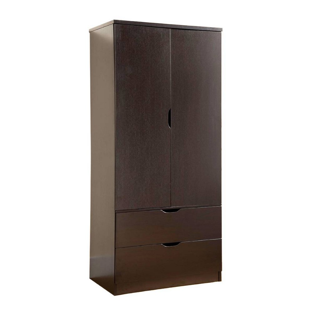 Image of 2 Door Wooden Wardrobe with Bottom Drawers Brown - Benzara