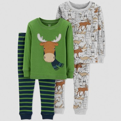 Toddler Boys' Moose 4pc Pajama Set - Just One You® made by carter's Green 5T