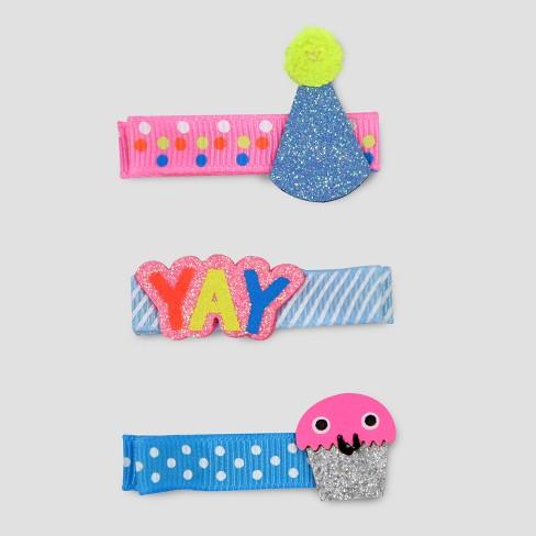 Toddler Girls' 3pk Birthday Hair Clips - Cat & Jack™ Pink/Blue - image 1 of 1