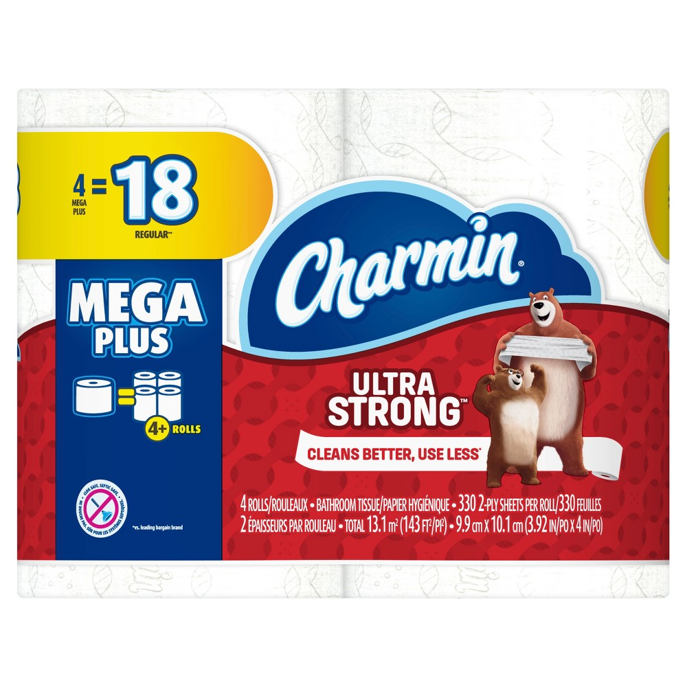 Charmin Ultra Strong Toilet Paper - 4 Mega Plus Rolls