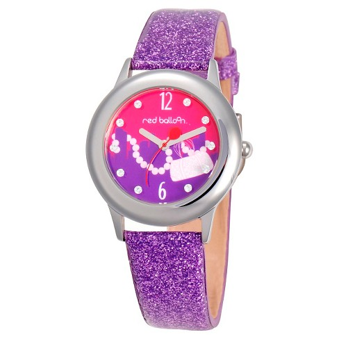 Disney® Girls' Red Balloon City Shopping Spree Stainless Steel Glitz Watch - Purple - image 1 of 2