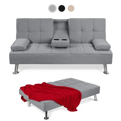 Best Choice Products Modern Linen Convertible Futon Sofa Bed w/ Removable ArmrestsMetal Legs2 Cupholders