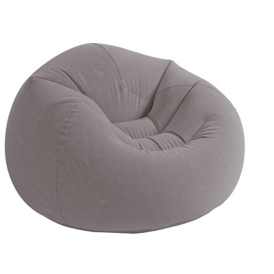 Intex 68579EP Inflatable 42L x 41W x27H Inch Contoured Corduroy Beanless Bag Lounge Chair, Gray