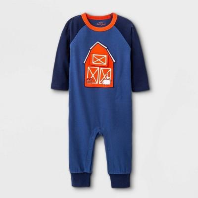 Baby Boys' Barn Playwear Romper - Cat & Jack™ Light Navy Newborn