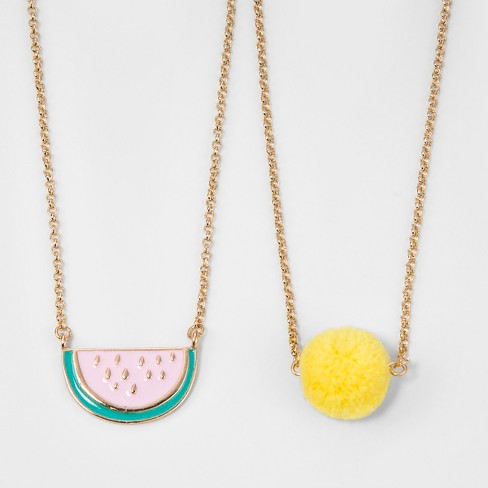 Girls' Watermelon Pom Necklace - Cat & Jack™ One Size - image 1 of 2