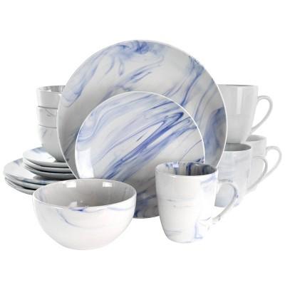 16pc Stoneware Fine Marble Dinnerware Set Blue/White Blue/White - Elama