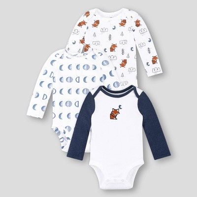 Lamaze Baby Boys' 3pk Organic Cotton Fox Long Sleeve Bodysuit - White/Blue 9M