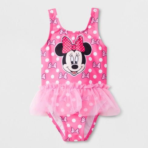c189eb7357adf Toddler Girls  Disney Mickey Mouse   Friends Minnie Mouse One Piece  Swimsuit - Pink