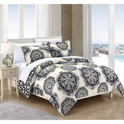 7pc King Aragona Printed Medallion Reversible with Geometric Printed Backing Duvet Cover Set Black - Chic Home Design