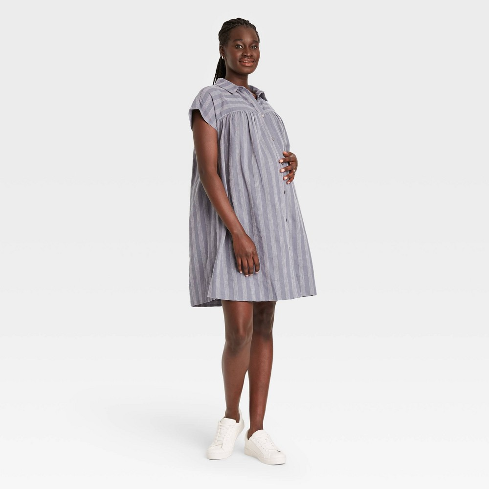 Vintage Maternity Dresses and Clothes The Nines by HATCH Short Sleeve Maternity Dress Blue Striped XXL $28.90 AT vintagedancer.com