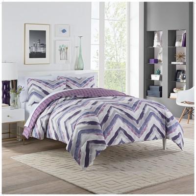 Plum Baxter Reversible Comforter Set (King)3pc - Vue
